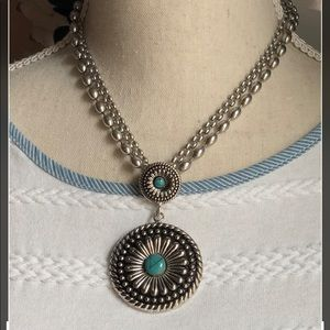 Silver & Turquoise Fashion Necklace